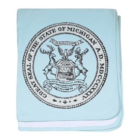 Vintage Michigan State Seal baby blanket