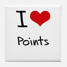I Love Points Tile Coaster