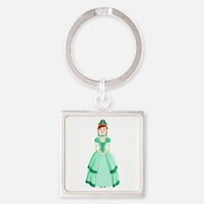 Green Princess Square Keychain