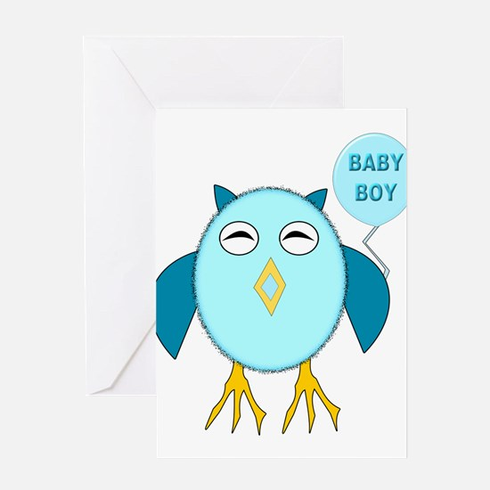 Cute Blue New Baby Boy Owl Greeting Card