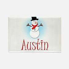 Snowman - Austin Rectangle Magnet