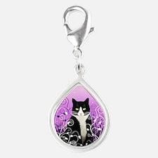 Tuxedo Cat on Lavender Silver Teardrop Charm