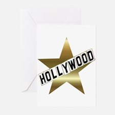 hollywood sign gold.white Greeting Cards