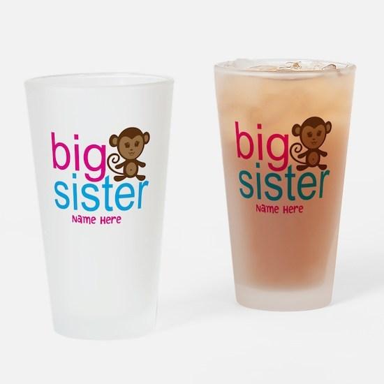 Personalized Big Sister Monkey Drinking Glass