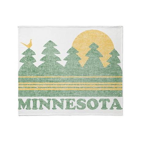 Vintage Minnesota Sunset Throw Blanket