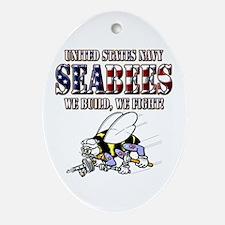 US Navy Seabees RWB Ornament (Oval)