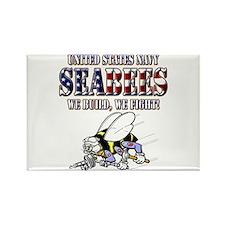 US Navy Seabees RWB Rectangle Magnet