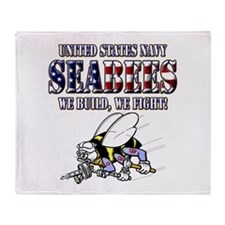 US Navy Seabees RWB Throw Blanket