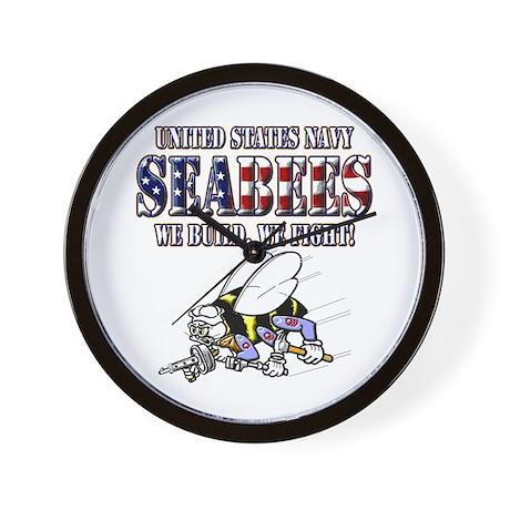 US Navy Seabees RWB Wall Clock