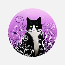 "Tuxedo Cat on Lavender 3.5"" Button (100 pack)"