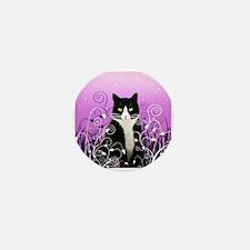 Tuxedo Cat on Lavender Mini Button