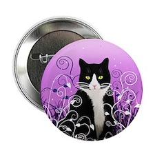"Tuxedo Cat on Lavender 2.25"" Button"