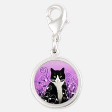 Tuxedo Cat on Lavender Silver Round Charm