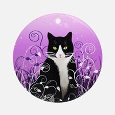 Tuxedo Cat on Lavender Ornament (Round)