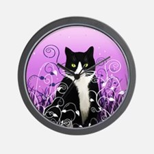Tuxedo Cat on Lavender Wall Clock