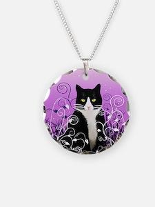 Tuxedo Cat on Lavender Necklace