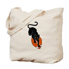 Panther Leaping on Football art Tote Bag