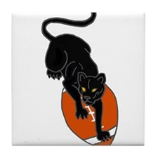 Panther Leaping on Football art Tile Coaster