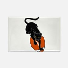 Panther Leaping on Football art Rectangle Magnet