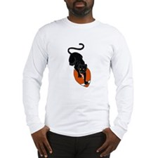 Panther Leaping on Football art Long Sleeve T-Shir
