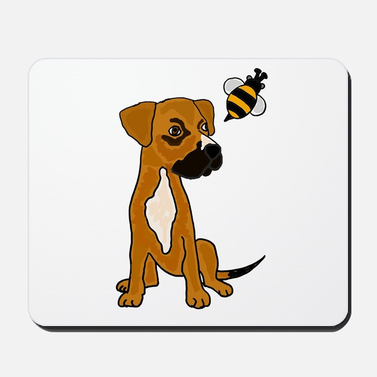Boxer Mix Puppy Dog and Bee Mousepad