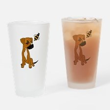 Boxer Mix Puppy Dog and Bee Drinking Glass