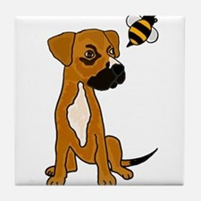 Boxer Mix Puppy Dog and Bee Tile Coaster