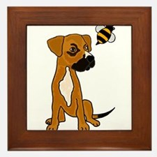Boxer Mix Puppy Dog and Bee Framed Tile