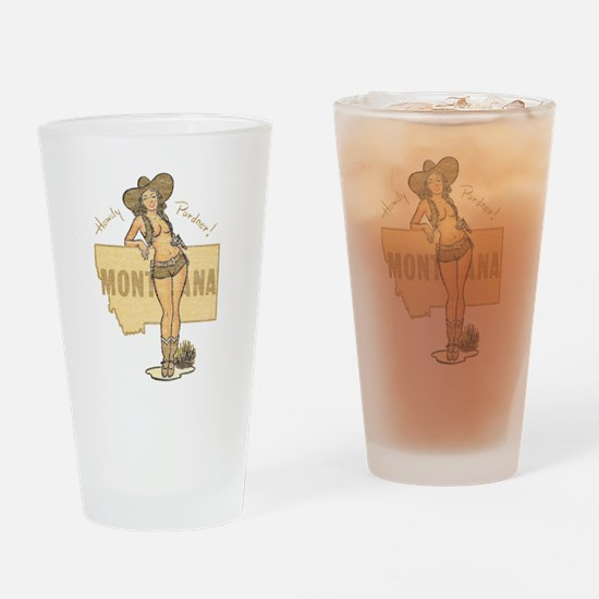 Faded Montana Pinup Drinking Glass