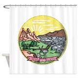 Montana vintage state flag Shower Curtains