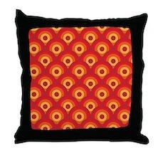 Orange Retro Circles Throw Pillow