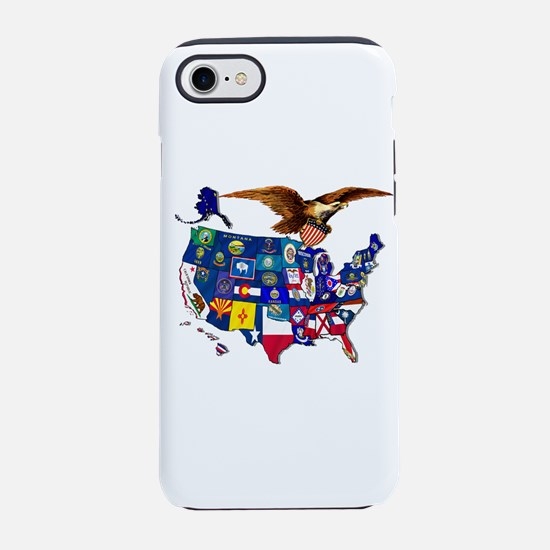 US State Flags Map iPhone 7 Tough Case