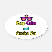 Crown Sunglasses Keep Calm And Cruise On Oval Car