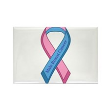 Male Breast Cancer Awareness Ribbon Rectangle Magn