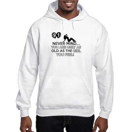 91th year old birthday designs Hooded Sweatshirt