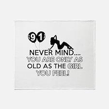 91th year old birthday designs Throw Blanket