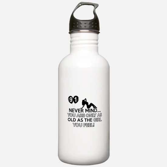 91th year old birthday designs Water Bottle