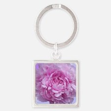 Pink Peony Flower Square Keychain