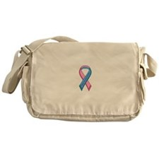 Male Breast Cancer Awareness Ribbon Messenger Bag