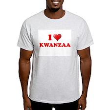 I LOVE KWANZAA KWANZA SHIRT M Ash Grey T-Shirt