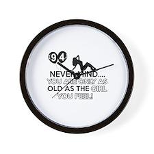 94th year old birthday designs Wall Clock