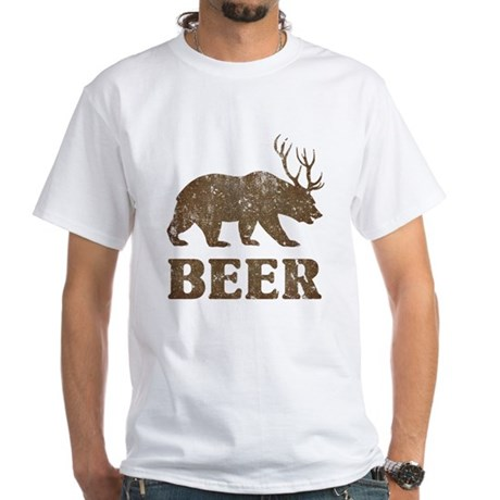 Bear+Deer=Beer Vintage White T-Shirt