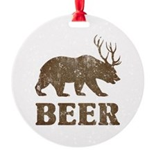 Bear+Deer=Beer Vintage Round Ornament