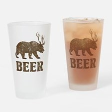 Bear+Deer=Beer Vintage Drinking Glass