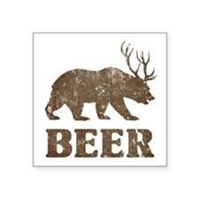 "Bear+Deer=Beer Vintage Square Sticker 3"" x 3"""