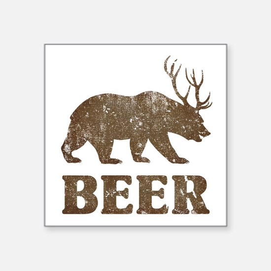 "Bear+Deer=Beer Vintage Square Sticker 3"" x 3"""