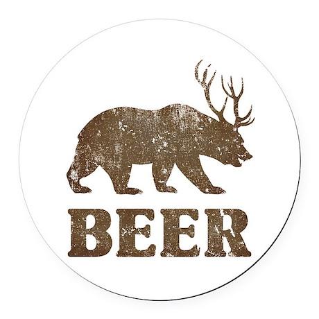 Bear+Deer=Beer Vintage Round Car Magnet