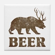 Bear+Deer=Beer Vintage Tile Coaster