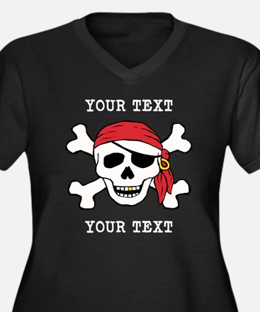 PERSONALIZE Funny Pirate Women's Plus Size V-Neck