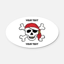 PERSONALIZE Funny Pirate Oval Car Magnet